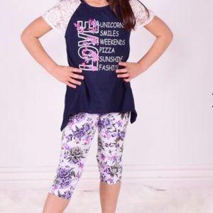 Other - Love....Lace Cap Sleeve&  Floral Capri 2pc Set
